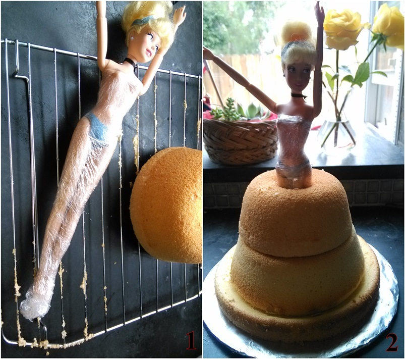 DIY Barbie Doll Cake with Heavy Whipping Cream Frosting 6 0061