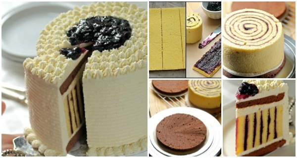 How to Make Fab Chocolate Blueberry Striped Cake