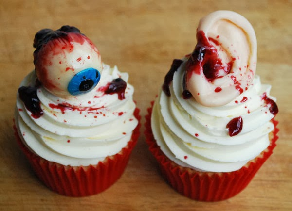 Weird Creepy Spooky and Scary Halloween Cakes Eyeball and Severed Ear Cupcake