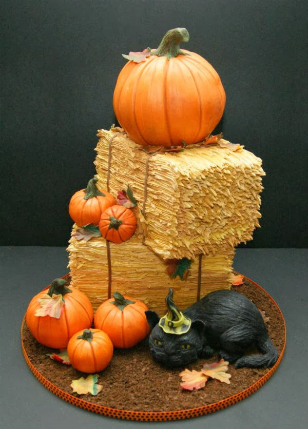 Weird Creepy Spooky and Scary Halloween Cakes My Pumpkin and Hay Bale Cake