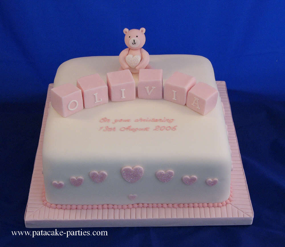 christening cake blocks and teddy
