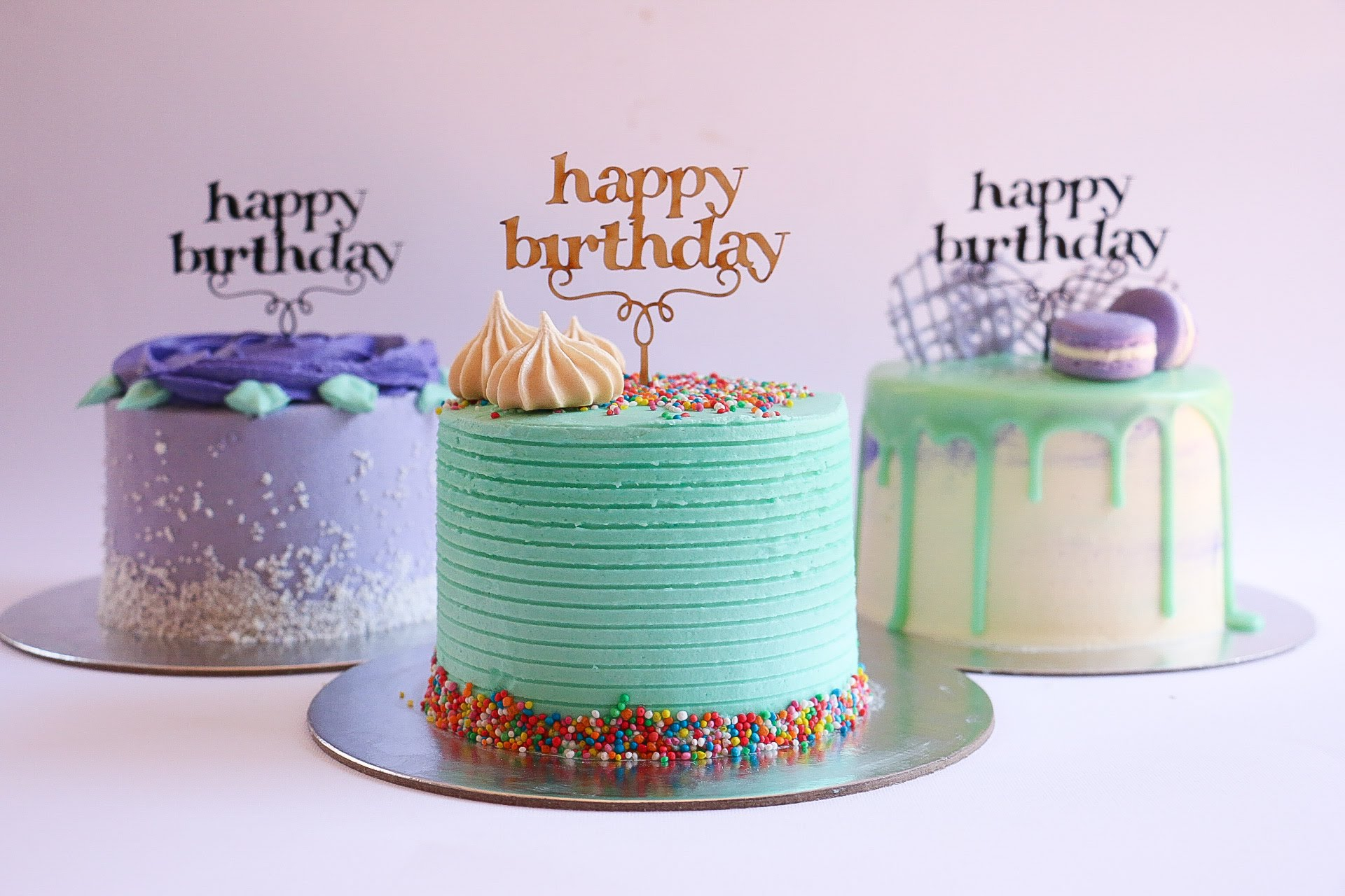 Mini Purple And Turquoise Buttercream Cakes