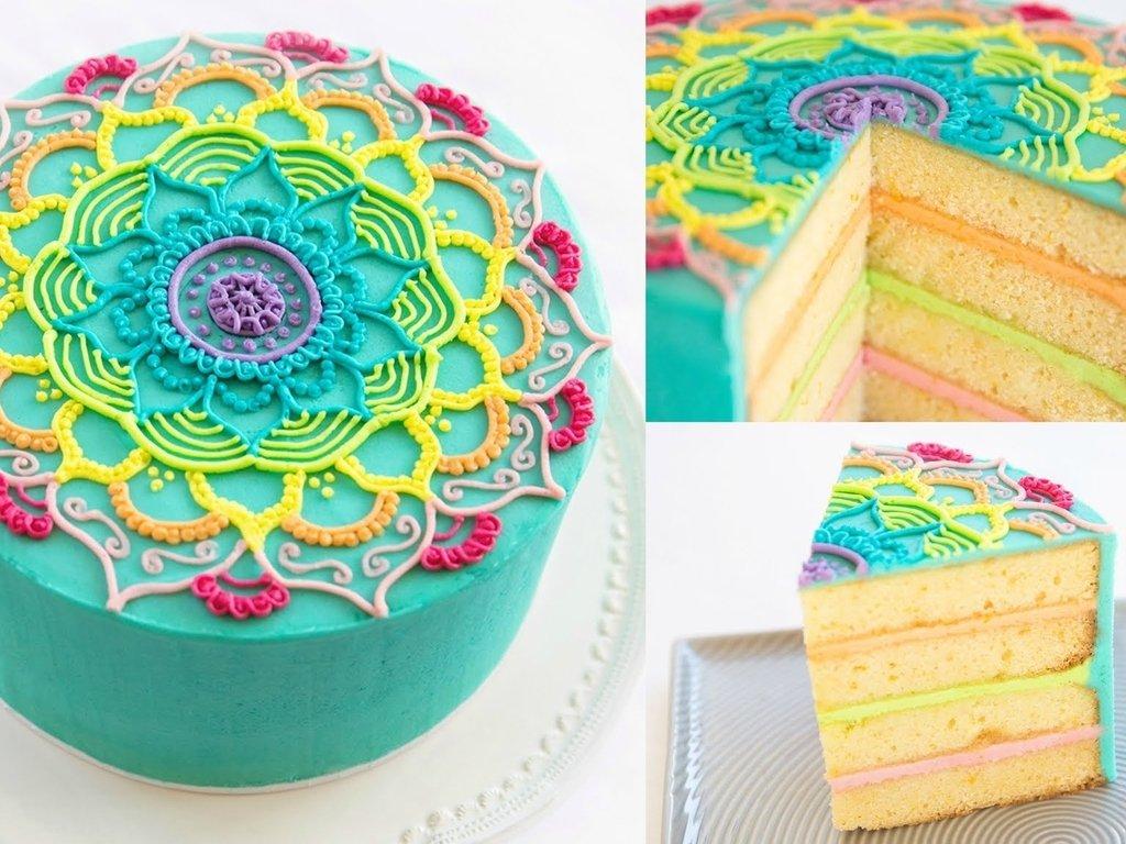 Buku Cake Decorating Dengan Buttercream : Rainbow Mandala Buttercream Piping Tutorial