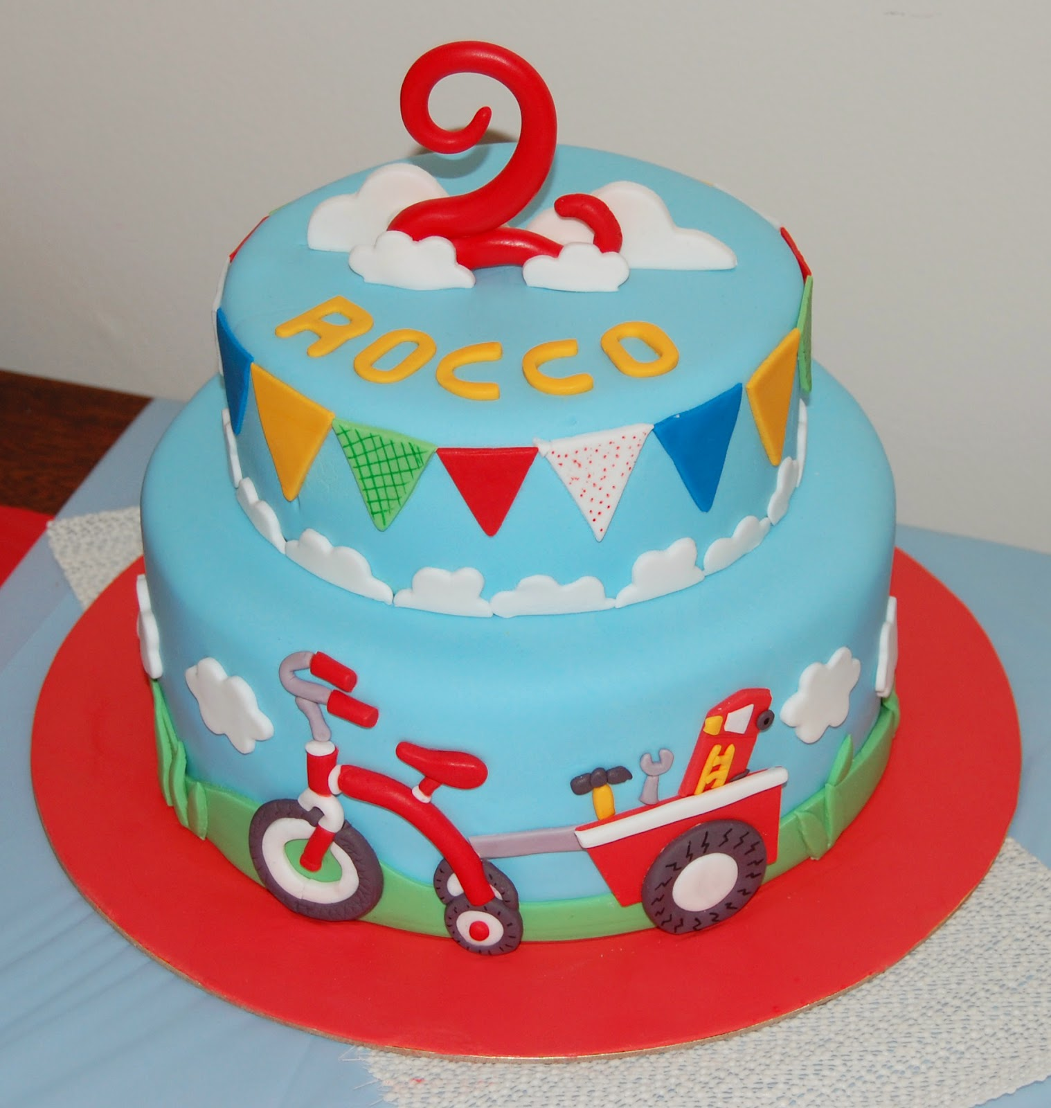 tricycle bunting boys 2nd birthday cake