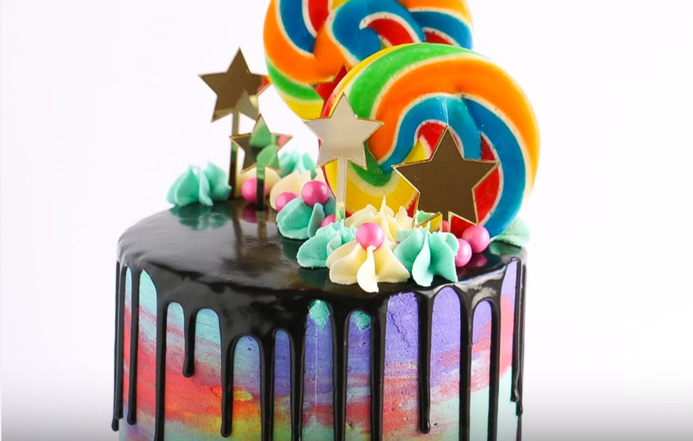 How To Make Watercolor Drip Chocolate Cake